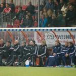 27-10-2015: Voetbal: Almere City FC v FC Den Bosch: Almere (L-R) Marco Heering - Assistent trainer (Almere City FC), Maarten Stekelenburg - Hoofdtrainer (Almere City FC), Sjouke Tel - Loop & hersteltrainer (Almere City FC), Roy Gebbink - Teammanager (Almere City FC) KNVB Beker 3de ronde 2015 / 2016