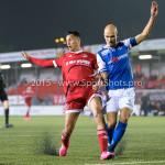 27-10-2015: Voetbal: Almere City FC v FC Den Bosch: Almere (L-R) Khalid Tadmine (Almere City FC), Maarten Boddaert (FC Den Bosch) KNVB Beker 3de ronde 2015 / 2016