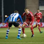12-02-2016: Voetbal: Almere City FC v FC Eindhoven: Almere (L-R) Tibeau Swinnen (FC Eindhoven), Lars Nieuwpoort (Almere City FC) Jupiler League 2015 / 2016