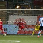 12-02-2016: Voetbal: Almere City FC v FC Eindhoven: Almere (L-R) Wimilio Vink (FC Eindhoven), Lars Nieuwpoort (Almere City FC), Pablo Rosario (Almere City FC), Agil Etemadi (Almere City FC) Jupiler League 2015 / 2016