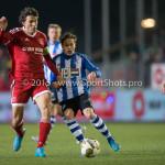 12-02-2016: Voetbal: Almere City FC v FC Eindhoven: Almere (L-R) Jason Oost (Almere City FC), Tibeau Swinnen (FC Eindhoven) Jupiler League 2015 / 2016