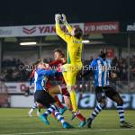 12-02-2016: Voetbal: Almere City FC v FC Eindhoven: Almere (L-R) Tibeau Swinnen (FC Eindhoven),Jason Oost (Almere City FC), Ruud Swinkels (FC Eindhoven), Chiró N'Toko (FC Eindhoven) Jupiler League 2015 / 2016