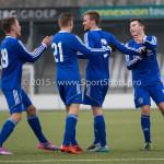 13-02-2016: Voetbal: Almere City FC O19 - Alphense Boys O19 2-0: Almere (L-R) Theo  Visser (Almere City FC A1), Jeffrey O'Brien (Almere City FC A1), Adriaan Kruisheer (Almere City FC A1), Sam Krant (Almere City FC A1)