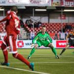 19-02-2016: Voetbal: Almere City v FC Volendam: Almere (L-R) Soufyan Ahannach (Almere City FC), Hobie Verhulst (FC Volendam) Jupiler League 2015 / 2016