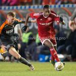 19-02-2016: Voetbal: Almere City v FC Volendam: Almere (L-R) Dylan Mertens (FC Volendam), Pablo Rosario (Almere City FC) Jupiler League 2015 / 2016