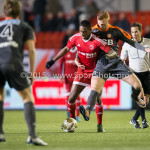 19-02-2016: Voetbal: Almere City v FC Volendam: Almere (L-R)Pablo Rosario (Almere City FC), Dylan Mertens (FC Volendam) Jupiler League 2015 / 2016