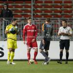 19-02-2016: Voetbal: Almere City v FC Volendam: Almere (L-R) Agil Etemadi (Almere City FC), Kaj Ramsteijn (Almere City FC), Jack Tuijp (FC Volendam), Martin Pérez (Scheidsrechter) Jupiler League 2015 / 2016