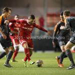 19-02-2016: Voetbal: Almere City v FC Volendam: Almere (L-R) Erik Schouten (FC Volendam), Norair Mamedov (Almere City FC) Jupiler League 2015 / 2016