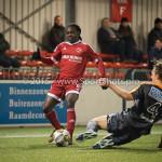 19-02-2016: Voetbal: Almere City v FC Volendam: Almere (L-R)Mitchell Burgzorg (Almere City FC), Erik Schouten (FC Volendam) Jupiler League 2015 / 2016