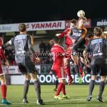 19-02-2016: Voetbal: Almere City v FC Volendam: Almere (L-R) Norair Mamedov (Almere City FC), Kaj Ramsteijn (Almere City FC), Bert Steltenpool (FC Volendam) Jupiler League 2015 / 2016