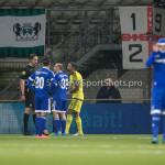 26-02-2016: Voetbal: FC Emmen v Almere City FC: Emmen (L-R) Bax (Scheidsrechter), Kees van Buren (Almere City FC),Agil Etemadi (Almere City FC) Jupiler League 2015 / 2016
