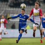 26-02-2016: Voetbal: FC Emmen v Almere City FC: Emmen (L-R) Norair Mamedov (Almere City FC), Jens Jurn Streutker (FC Emmen) Jupiler League 2015 / 2016