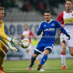 26-02-2016: Voetbal: FC Emmen v Almere City FC: Emmen (L-R) Dennis Telgenkamp (FC Emmen), Norair Mamedov (Almere City FC), Jens Jurn Streutker (FC Emmen) Jupiler League 2015 / 2016