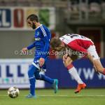 26-02-2016: Voetbal: FC Emmen v Almere City FC: Emmen (L-R) Soufyan Ahannach (Almere City FC), Jens Jurn Streutker (FC Emmen) Jupiler League 2015 / 2016