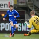 26-02-2016: Voetbal: FC Emmen v Almere City FC: Emmen (L-R) Silvester van de Water (Almere City FC), Dennis Telgenkamp (FC Emmen) Jupiler League 2015 / 2016
