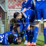 26-02-2016: Voetbal: FC Emmen v Almere City FC: Emmen (L-R) Pablo Rosario (Almere City FC), Soufyan Ahannach (Almere City FC), Javier Vet (Almere City FC), Gaston Salasiwa (Almere City FC) Jupiler League 2015 / 2016