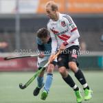 06-03-2016: Hockey: Amsterdam v HGC: Amsterdam (L-R) Willem Rath (HGC), Billy Bakker (Amsterdam) Hoofdklasse Heren 2015 / 2016