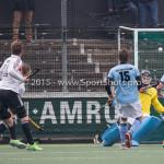 06-03-2016: Hockey: Amsterdam v HGC: Amsterdam (L-R) Robert Tigges (Amsterdam), Mirco Pruyser (Amsterdam), Goof van der Kamp (HGC), Sam van der Ven (HGC), Phil Burrows (HGC) Hoofdklasse Heren 2015 / 2016