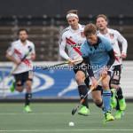 06-03-2016: Hockey: Amsterdam v HGC: Amsterdam (L-R) Justin Reid-Ross (Amsterdam), Jorrit Croon (HGC) Hoofdklasse Heren 2015 / 2016
