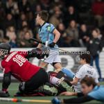 06-03-2016: Hockey: Amsterdam v HGC: Amsterdam (L-R) Laurens Goedegebuure (Amsterdam), Rik van Kan (HGC), Johannes Mooij (Amsterdam) Hoofdklasse Heren 2015 / 2016