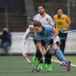 06-03-2016: Hockey: Amsterdam v HGC: Amsterdam (L-R) Justin Reid-Ross (Amsterdam), Rik van Kan (HGC) Hoofdklasse Heren 2015 / 2016