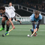 06-03-2016: Hockey: Amsterdam v HGC: Amsterdam (L-R) Valentin Verga (Amsterdam), Goof van der Kamp (HGC) Hoofdklasse Heren 2015 / 2016