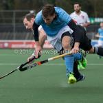 06-03-2016: Hockey: Amsterdam v HGC: Amsterdam (L-R) Teun Rohof (Amsterdam), Jorrit Croon (HGC) Hoofdklasse Heren 2015 / 2016