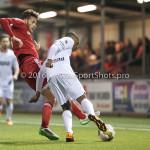 14-03-2016: Voetbal: Almere City FC v Sparta Rotterdam: Almere (L-R) Javier Vet (Almere City FC), Denzel Dumfries (Sparta Rotterdam) Jupiler League 2015 / 2016