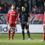 14-03-2016: Voetbal: Almere City FC v Sparta Rotterdam: Almere (L-R) Kaj Ramsteijn (Almere City FC), Dennis Higler (Scheidsrechter) Jupiler League 2015 / 2016