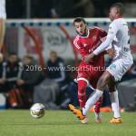 14-03-2016: Voetbal: Almere City FC v Sparta Rotterdam: Almere (L-R) Soufyan Ahannach (Almere City FC), Denzel Dumfries (Sparta Rotterdam) Jupiler League 2015 / 2016