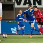 18-03-2016: Voetbal: Helmond Sport v Almere City FC: Helmond (L-R) Pelle van Amersfoort (Almere City FC), Yannick Cortie (Helmond Sport) Jupiler League 2015 / 2016