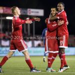 29-04-2016: Voetbal: Almere City FC v Jong PSV: Almere (L-R) Silvester van de Water (Almere City FC), Soufyan Ahannach (Almere City FC), Pablo Rosario (Almere City FC) Jupiler League 2015 / 2016