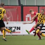 13-08-2016: Voetbal: Jong Almere City FC v Rijnsburgse Boys: Almere (L-R) Wesley Goeman (Rijnsburgse Boys), Maarten Davids (Almere City FC), Jeffrey Jongeneelen (Rijnsburgse Boys) 3de divisie zaterdag 2016 /2017