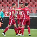 13-08-2016: Voetbal: Jong Almere City FC v Rijnsburgse Boys: Almere (L-R) Emre Bal (Jong Almere City FC), Daan Ibrahim (Jong Almere City FC), Dyllan Lanser (Almere City FC) 3de divisie zaterdag 2016 /2017