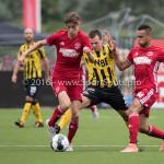 13-08-2016: Voetbal: Jong Almere City FC v Rijnsburgse Boys: Almere (L-R) Maarten Davids (Almere City FC), Roderick Gielisse (Rijnsburgse Boys), Daan Ibrahim (Jong Almere City FC) 3de divisie zaterdag 2016 /2017