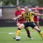 13-08-2016: Voetbal: Jong Almere City FC v Rijnsburgse Boys: Almere (L-R) Emre Bal (Jong Almere City FC), Wesley Goeman (Rijnsburgse Boys) 3de divisie zaterdag 2016 /2017