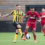 13-08-2016: Voetbal: Jong Almere City FC v Rijnsburgse Boys: Almere (L-R) Donny Verdam (Rijnsburgse Boys), Daan Ibrahim (Jong Almere City FC) 3de divisie zaterdag 2016 /2017