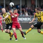 13-08-2016: Voetbal: Jong Almere City FC v Rijnsburgse Boys: Almere (L-R) Hidde Prijs (Rijnsburgse Boys), Emre Bal (Jong Almere City FC), Roderick Gielisse (Rijnsburgse Boys) 3de divisie zaterdag 2016 /2017