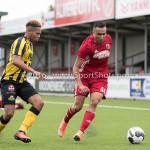 13-08-2016: Voetbal: Jong Almere City FC v Rijnsburgse Boys: Almere (L-R) Joël Tillema (Rijnsburgse Boys), Daan Ibrahim (Jong Almere City FC) 3de divisie zaterdag 2016 /2017