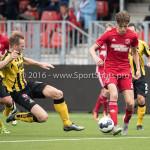 13-08-2016: Voetbal: Jong Almere City FC v Rijnsburgse Boys: Almere (L-R) Wesley Goeman (Rijnsburgse Boys), Maarten Davids (Almere City FC) 3de divisie zaterdag 2016 /2017