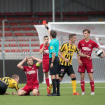 13-08-2016: Voetbal: Jong Almere City FC v Rijnsburgse Boys: Almere (L-R) Tom Noordhoff (Jong Almere City FC), P. van der Pol (Scheidsrechter) 3de divisie zaterdag 2016 /2017