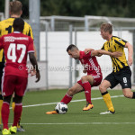 13-08-2016: Voetbal: Jong Almere City FC v Rijnsburgse Boys: Almere (L-R) Abdel Metalsi (Almere City FC), Jorn van Lunteren (Rijnsburgse Boys) 3de divisie zaterdag 2016 /2017