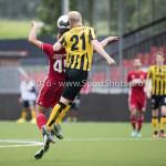 13-08-2016: Voetbal: Jong Almere City FC v Rijnsburgse Boys: Almere (L-R) Emre Bal (Jong Almere City FC), Hidde Prijs (Rijnsburgse Boys) 3de divisie zaterdag 2016 /2017