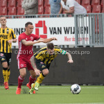 13-08-2016: Voetbal: Jong Almere City FC v Rijnsburgse Boys: Almere (L-R) Danny van Haaren (Jong Almere City FC), Donny Verdam (Rijnsburgse Boys) 3de divisie zaterdag 2016 /2017