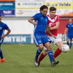 20-08-2016: Voetbal: Harkemase Boys v Jong Almere City FC: Harkema (L-R) Jimmy Spruijt (Jong Almere City FC), Ezra Schrijver (Harkemase Boys) 3de divisie zaterdag 2016 /2017