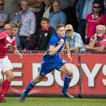 20-08-2016: Voetbal: Harkemase Boys v Jong Almere City FC: Harkema (L-R) Jesse Renken (Harkemase Boys), Nicky van Hilten (Jong Almere City FC) 3de divisie zaterdag 2016 /2017
