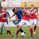 20-08-2016: Voetbal: Harkemase Boys v Jong Almere City FC: Harkema (L-R) Emre Bal (Jong Almere City FC), Simon IJzerman (Harkemase Boys) 3de divisie zaterdag 2016 /2017
