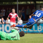 20-08-2016: Voetbal: Harkemase Boys v Jong Almere City FC: Harkema (L-R) Erick Jansema (Harkemase Boys), Daan Ibrahim (Jong Almere City FC) 3de divisie zaterdag 2016 /2017