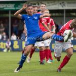 20-08-2016: Voetbal: Harkemase Boys v Jong Almere City FC: Harkema (L-R) Emre Bal (Jong Almere City FC), Jesse Renken (Harkemase Boys) 3de divisie zaterdag 2016 /2017