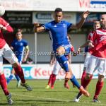 20-08-2016: Voetbal: Harkemase Boys v Jong Almere City FC: Harkema (L-R) Robin Huisman de Jong (Harkemase Boys), Daan Ibrahim (Jong Almere City FC) 3de divisie zaterdag 2016 /2017